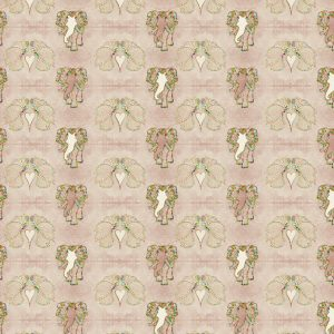 """Art Elefly"" is a all-over print of art nouveau elephants and butterflies with rustic gold glitter effect. Main color soft rose. Print repeat dimensions: 10cm x 7cm / 4"" x 2,8"""