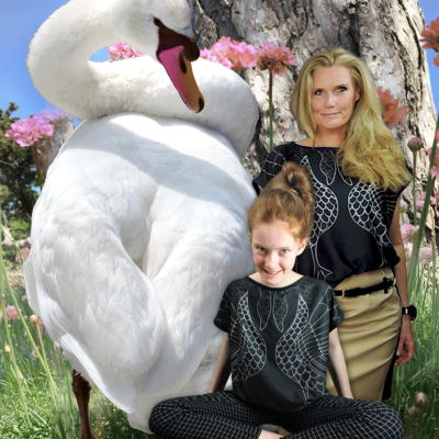 Art Swan MTM fabric for FREE downloadable blouse. Shown on models in size XS and M