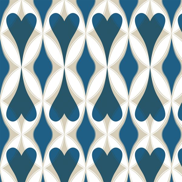 """Thankful near. A print pattern in a big scale with hearts & diamonds in a design that creates harmonious new pattern shapes. Main color: Blue. Repeat dimensions: 7.5""""x23.7"""" / 19cm x 60cm"""