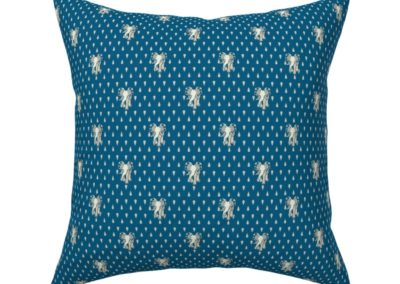 Throw pillow with Art Nouveau Elephants walking towards you, behind them a art deco inspired pattern of geometric droplets. Ground color: blue