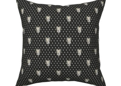 Throw pillow with Art Nouveau Elephants walking towards you, behind them a art deco inspired pattern of geometric droplets. Ground color: black