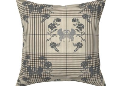 """Throw pillow with art nouveau swans bordered by flowers in half drop on a checked pattern. Main color is """"silver Cloud"""" (sand)"""