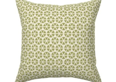 Throw pillow with hexagon shaped geometric flowers. Colors are green and pristine (off white/beige). Inspired from geometry in nature.