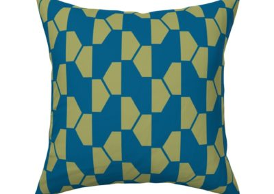 """""""Geo Ball"""" throw pillow product. Hexagon pattern in green and blue color play. Inspired from geometry in nature."""