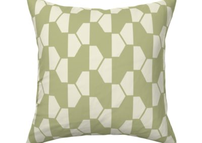 """""""Geo Ball"""" throw pillow product. Hexagon pattern in green and pristine (off-white/beige) color play. Inspired from geometry in nature."""