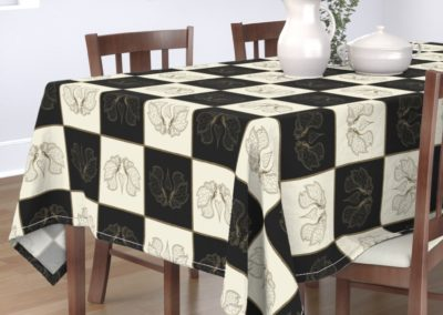Tablecloth with art butterfly chess print design in pristine and black color play