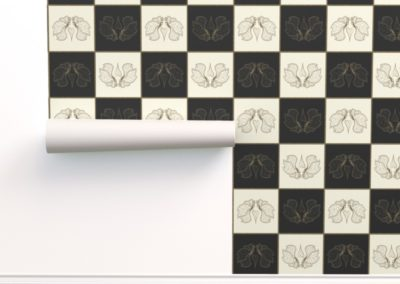 Wallpaper with art butterfly chess print design in black & pristine (off white) colorplay