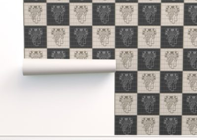 Wallpaper with art elephant chess print design in black & pristine (off white) colorplay