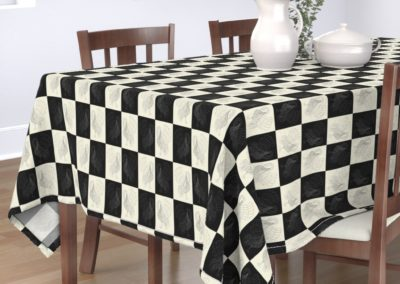Tablecloth with art swan chess print design in pristine and black color play