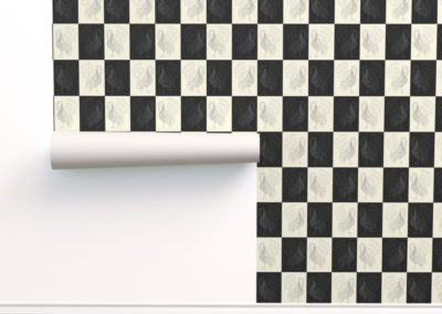Wallpaper with art swan chess print design in black & pristine (off white) colorplay