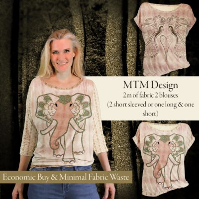 """""""Art Elephant"""" and """"Orbit Butterfly"""" blouse with long or short sleeves. One mtm fabric with several possibilities. Use Ejm Art Blouse & Sweater XS-XL Pattern"""" to cut out the design you desire. At least two blouses. Minimal fabric waste and best economic buy. Colors are rustic gold on ash rose."""