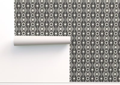 Wallpaper with celtic swan print design in pristine and black color play
