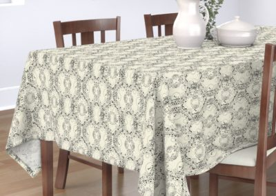 Tablecloth with celtic tree symphony print design in pristine and black color play