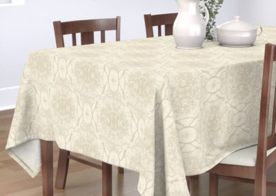 Tablecloth with dream branches print design in pristine color play (off-white/creme)