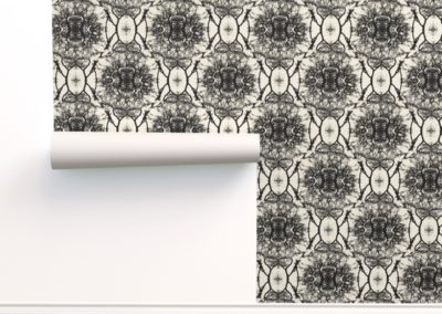 Wallpaper with dream branches print design in black and pristine (off-white) color play