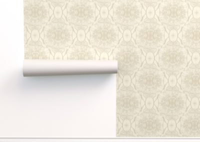 Wallpaper with dream branches print design in pristine color play (off-white/creme)