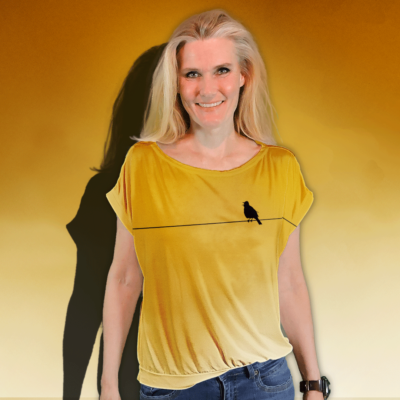 """""""Sing Bird"""" short sleeved blouse made from mtm fabric 152cm x 1meter. Ejm Art FREE Blouse & Sweater XS-XL Pattern"""" was used to cut and sew the blouse. Ground color is sunset yellow and artwork black."""