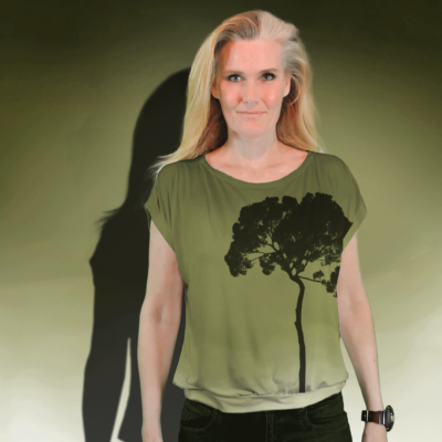 """""""Tree"""" short sleeved blouse made from mtm fabric 152cm x 1meter. Ejm Art FREE Blouse & Sweater XS-XL Pattern"""" was used to cut and sew the blouse. Ground color is green and artwork black."""
