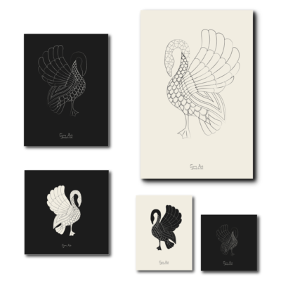 Swan posters. Available with black or pristine background color and in several sizes as shown here from 12x12/ 30cm x 30cm to 24x36/ 61cmx91cm.