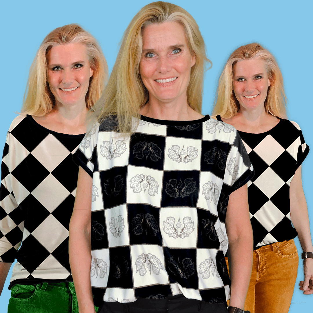 """Two blouses; two x short sleeved or 1 long and one short. Cut from the """"mtm 142cm x 2meter Chess Butterfly Chess"""" fabric."""
