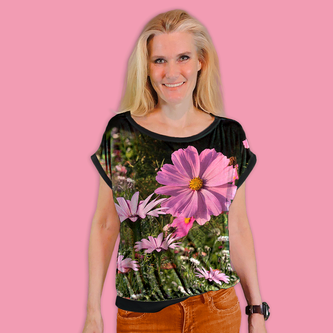 "Aliis Blouse. Cut & sewn from the ""mtm 142cm x 1meter Aliis"" fabric, using the free Ejm Art Blouse pattern SX-XXL"
