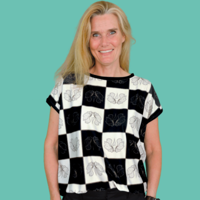 """Butterfly Chess Blouse. One out of two blouse designs cut from the """"mtm 142cm x 2meter Chess Butterfly Chess"""" fabric."""