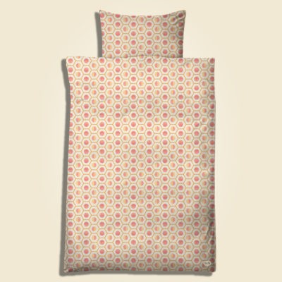 """Geo Duck fit, coral sun. Pillow and duvet cover for adults which matches """"Geo The Duckling for baby and juniors. The design has a slightly bigger scale."""