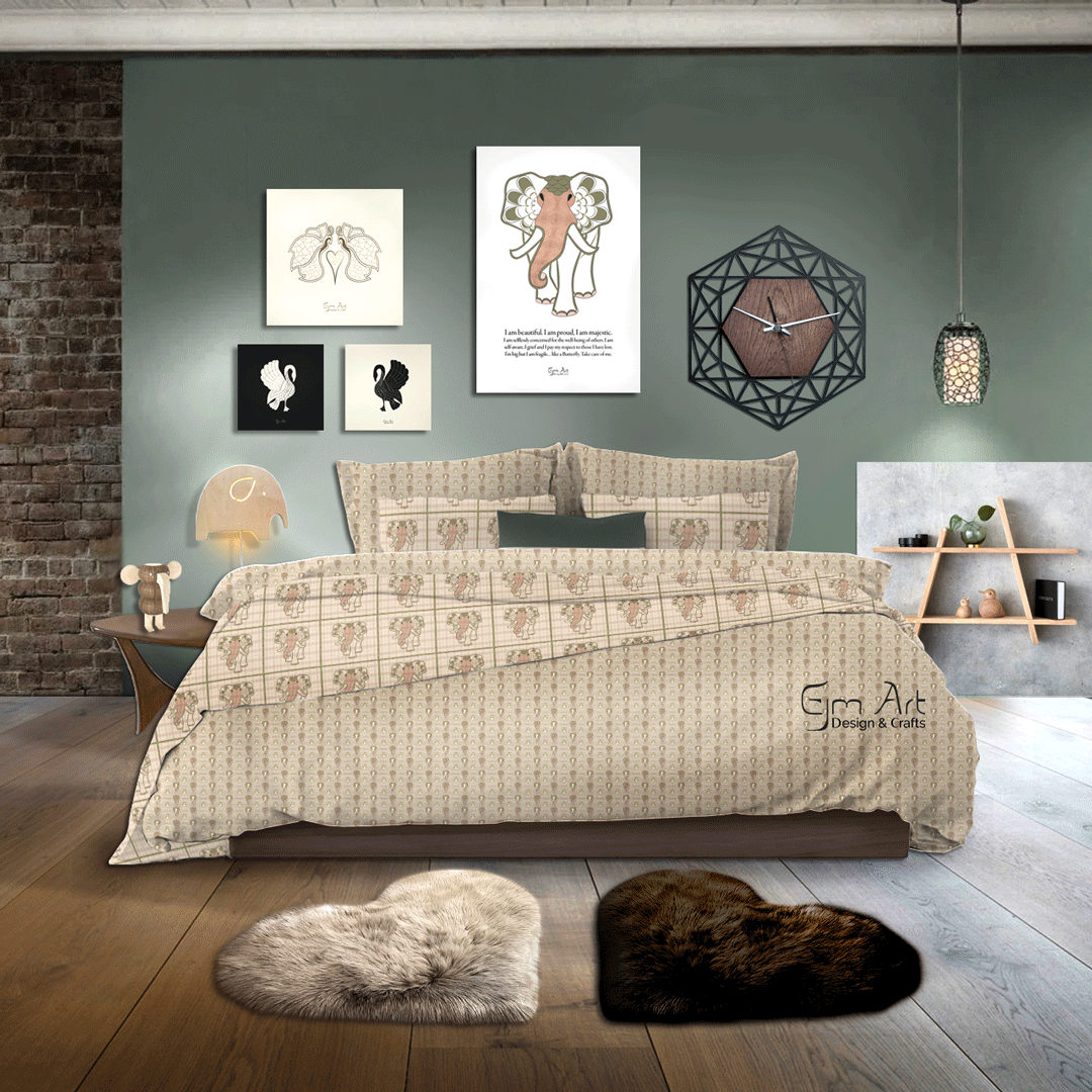 Home Décor. Swan, butterfly and elephant posters. Bedding with elephant print design.