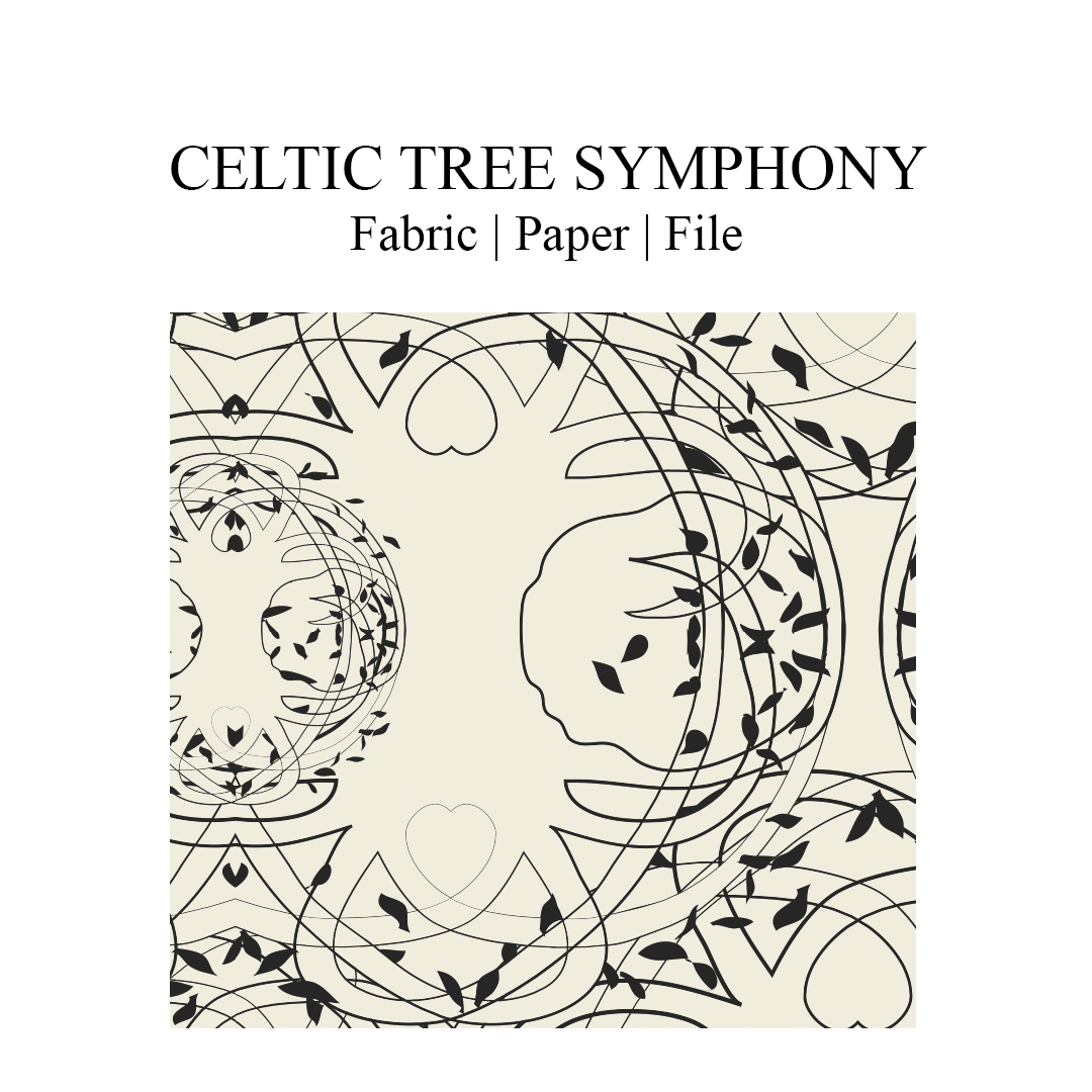 """Celtic Tree Symphony all-over print. The design are Celtic trees of life in delicate entanglement with the Celtic hearts. Artwork in black print on a pristine colored background. Print repeat dimensions: 21cm x 20cm / 8,27"""" x 7.95"""""""