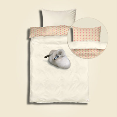 Geo The Duckling, coral sun. Bedding kit for junior. Pillow and duvet cover for diy creatives to simply cut & sew. Zippers, labels, bag fabric and sewing instructions included.