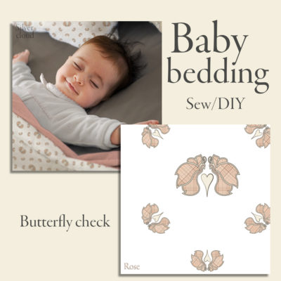 Butterfly Check digital printed bedding design for baby duvet & pillow cover. Rose checkered butterflies on white background.