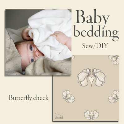 Butterfly Check digital printed bedding design for baby duvet & pillow cover. Light checkered butterflies on beige (silver cloud) background.