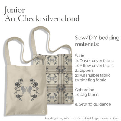 Bag viewed as when sewn containing bedding for junior. A kit for DIY creatives. All to sew up your self.